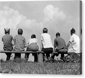 Boys On A Bench, C. 1960s Canvas Print by H. Armstrong Roberts/ClassicStock