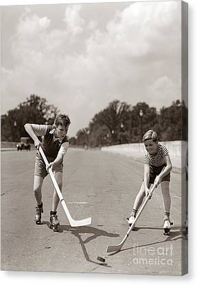 Boys Playing Street Hockey, C. 1930s Canvas Print by H. Armstrong Roberts/ClassicStock