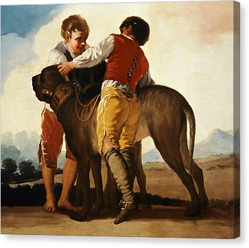 Boys With Mastiff Canvas Print by Goya