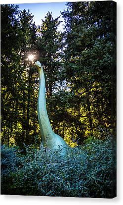 Brachiosaurus In Forest Canvas Print by Garry Gay