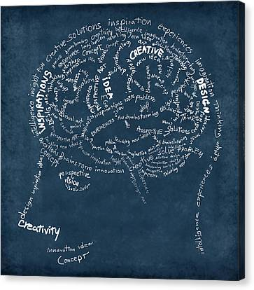 Brain Drawing On Chalkboard Canvas Print by Setsiri Silapasuwanchai