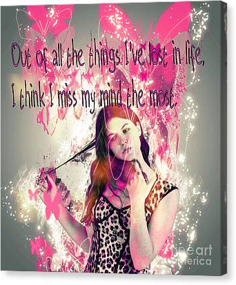 Brainless Teen Bimbo Canvas Print by Humorous Quotes