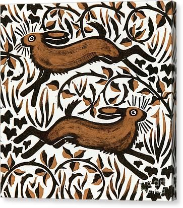 Bramble Hares Canvas Print by Nat Morley