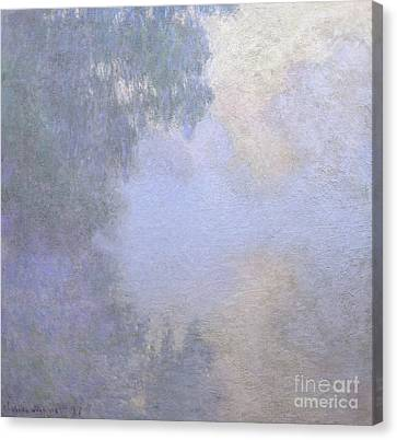 Branch Of The Seine Near Giverny  Mist Canvas Print by Claude Monet