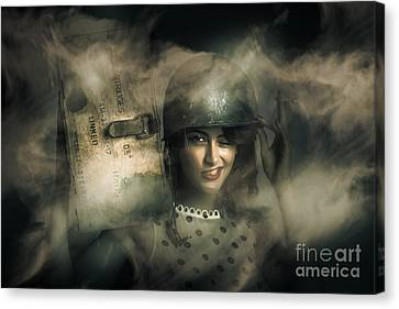 Brave Army Pinup Canvas Print by Jorgo Photography - Wall Art Gallery
