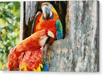 Brazilian Arara At Home  - Monet Style -  - Da Canvas Print by Leonardo Digenio