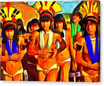 Brazilian Indian Girls - Pa Canvas Print by Leonardo Digenio