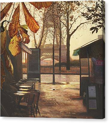 Breakfast In Paris Canvas Print by Helen Parsley