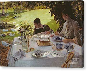 Breakfast In The Garden, 1883 Canvas Print by Giuseppe Nittis