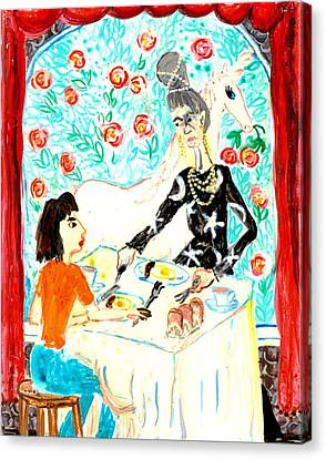 Breakfast With A Witch Canvas Print by Sushila Burgess