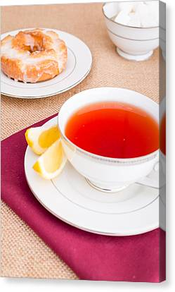 Breakfast With Pastries, And Hot Tea With Lemon #2 Canvas Print by Jon Manjeot