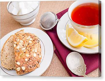 Breakfast With Pastries, And Hot Tea With Lemon #3 Canvas Print by Jon Manjeot