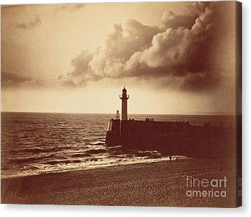 Breakwater At Sete Canvas Print by Gustave Le Gray