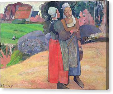 Breton Peasants Canvas Print by Paul Gauguin