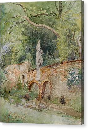 Brick Bridge With A Stone Figure Canvas Print by Marie Egner