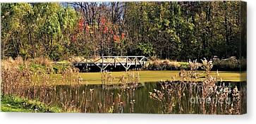 Bridge At Lincoln Memorial Garden Canvas Print by Christina Stanley