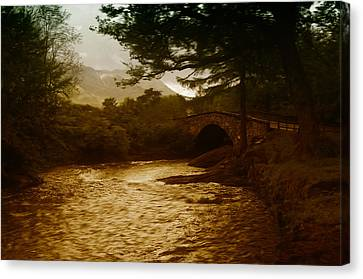 Bridge At The River Coe Canvas Print by Mark Denham