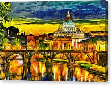 Bridge Of Angels Evening - Da Canvas Print by Leonardo Digenio