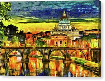Bridge Of Angels Evening Canvas Print by Leonardo Digenio