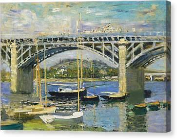 Bridge Over The River At Argenteuil Canvas Print by Claude Monet