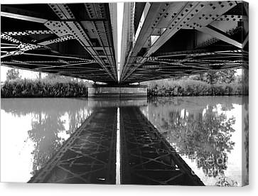 Bridge Reflection On The Water. Canvas Print by Unknow