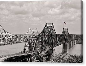 Bridges At Vicksburg Mississippi Canvas Print by Don Spenner