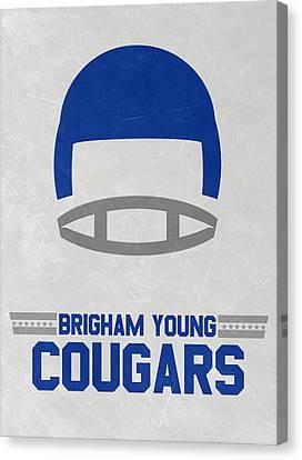 Brigham Young Cougars Vintage Football Art Canvas Print by Joe Hamilton