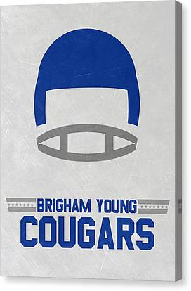 Brigham Young Cougars Vintage Football Art Canvas Print by Joe Hamilton