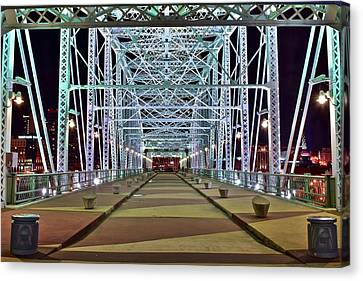 Bright Bridge Lights Canvas Print by Frozen in Time Fine Art Photography