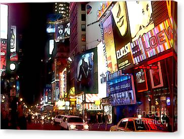 Bright Lights Of Broadway Canvas Print by Linda  Parker