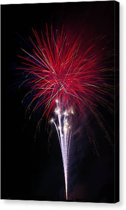 Bright Red Fireworks Canvas Print by Garry Gay