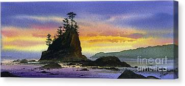Bright Seacoast Sunset Canvas Print by James Williamson