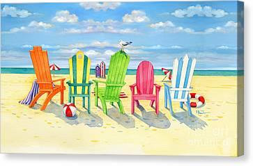 Brighton Beach Chairs Canvas Print by Paul Brent
