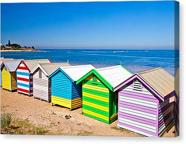Brighton Beach Huts Canvas Print by Az Jackson