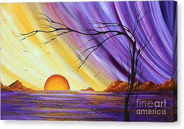 Brilliant Purple Golden Yellow Huge Abstract Surreal Tree Ocean Painting Royal Sunset By Madart Canvas Print by Megan Duncanson