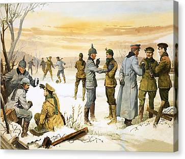 British And German Soldiers Hold A Christmas Truce During The Great War Canvas Print by Angus McBride