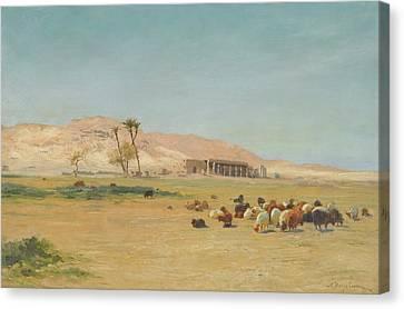 British Egyptian Landscape Canvas Print by Joseph Farquharson