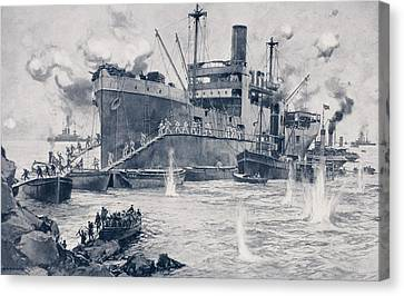 British Troops Landing From The 2000 Canvas Print by Vintage Design Pics