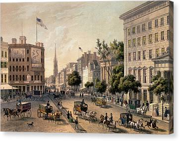 Broadway In The Nineteenth Century Canvas Print by Augustus Kollner