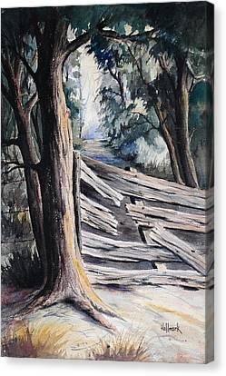 Broken Fence  Canvas Print by Bob Hallmark