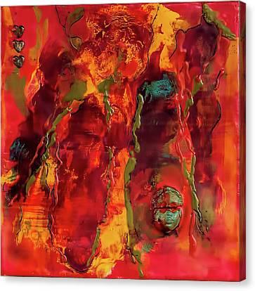 Broken Mask Encaustic Canvas Print by Bellesouth Studio
