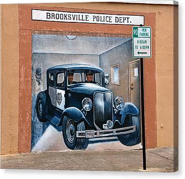 Brooksville Police Dept Mural Canvas Print by David Lee Thompson