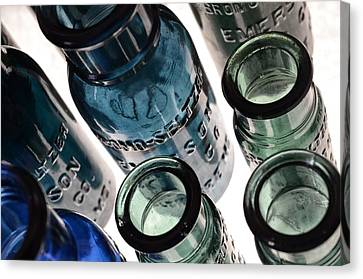 Bromo Seltzer Vintage Glass Bottles - Rare Green And Blue Canvas Print by Marianna Mills