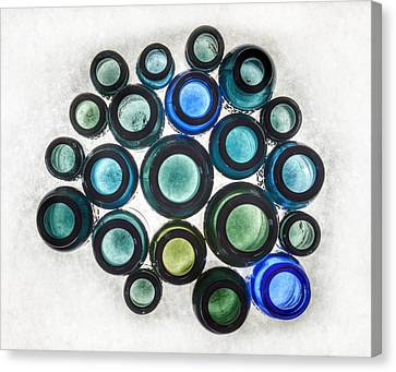 Bromo Seltzer Vintage Glass Bottles Top - Abstract Canvas Print by Marianna Mills