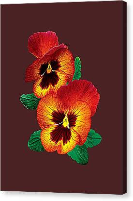 Bronze And Yellow Pansies Canvas Print by Susan Savad