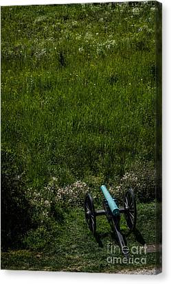 Bronze Civil War Era Cannon In Gettysburg Canvas Print by David March