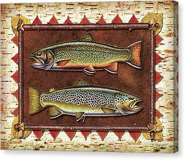 Brook And Brown Trout Lodge Canvas Print by JQ Licensing