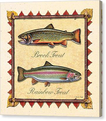 Brook And Rainbow Trout Creme Canvas Print by JQ Licensing