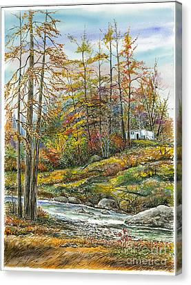 Brook In Autumn Canvas Print by Samuel Showman