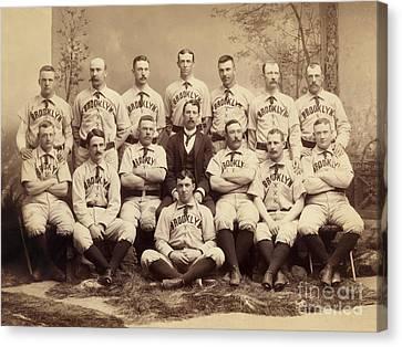 Brooklyn Bridegrooms Baseball Team Canvas Print by American School